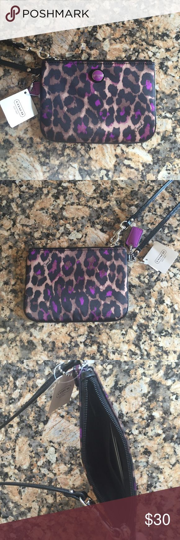 Small coach wristlet Cheetah print wristlet, never been used. NWT Bags Clutches & Wristlets