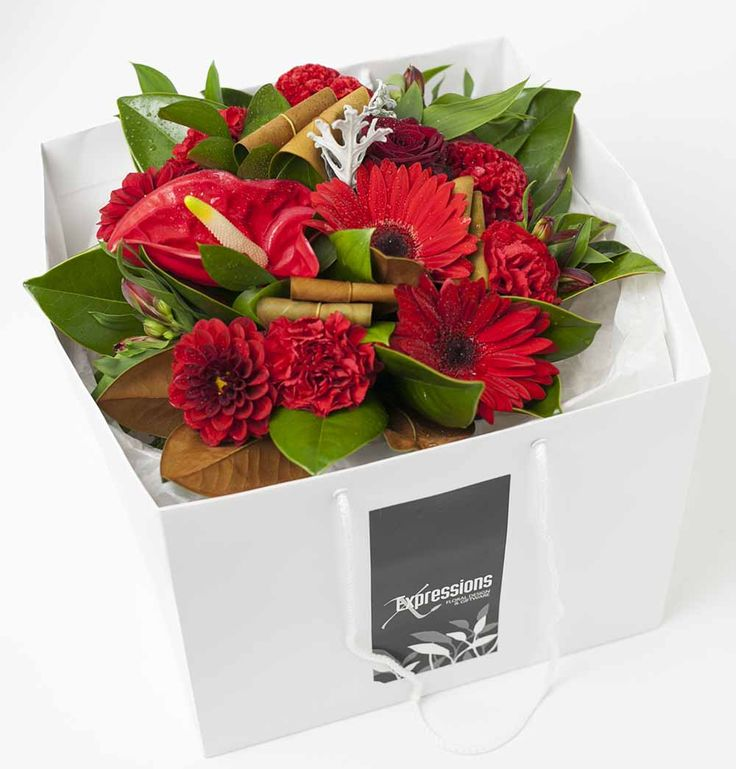 Flower Box Red http://www.expressionsfloral.co.nz/ #florist #flowers #bouquets