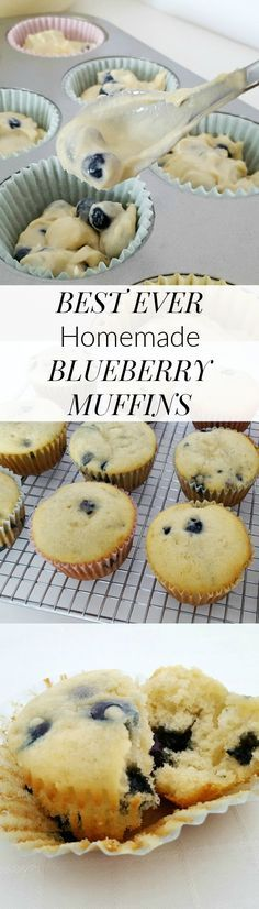 These BEST EVER HOMEMADE BLUEBERRY MUFFINS are so amazingly light and tasty, they'll have you coming back for more!