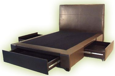 Bed Frame with Drawers - ooh! How about this one? Like the headboard and drawers. But, one idea I had was to out a bench at the foot of the bed and this drawer would interfere with that plan. Thoughts?