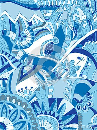 Beautiful drawings with geometric pattern of flowers in blue tones