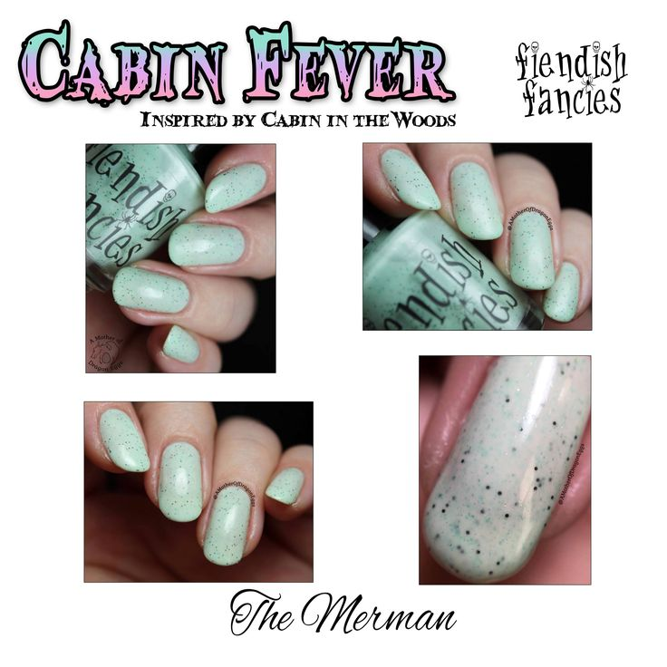 Cabin season is upon us! Warm moonlit nights in rustic cottages may seem like the perfect getaway. But be warned – not all vacations are dream getaways. Some are the stuff of nightmares. Feature 15: Cabin Fever is based on Cabin in the Woods. Six summery speckled pastel crèmes inspired by the things nightmares are from. F.15-06: The Merman is a creamy mint green pastel with emerald specklesAvailable in 15 ml (0.5 fl oz) round bottleALL OF OUR MINI BOTTLES HAVE MIXING...