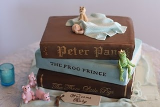 Peter Pan, the Frog Prince, and the Three Little Pigs book cake