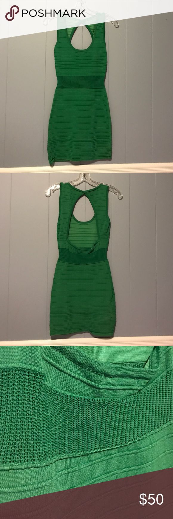 Bandage Dress 65% rayon, 35% nylon. Green bandage dress with open back. Great for holiday parties! WOW couture Dresses Mini