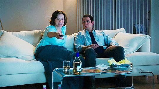 Crazy Ex Girlfriend watching TV