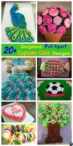 20 Plus #DIY Gorgeous Pull Apart #Cupcake Cake Decorating #Cupcake, #Bakery Designs Tutorials Instructions for Wedding, Birthday and Any celebration, awesome and so easy to make!