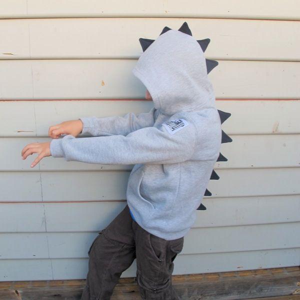 Image of Dino Roar Hoodie - Grey Marle with Navy Spikes