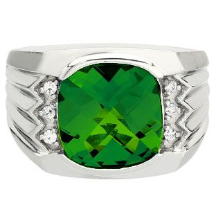 Large Men's Cushion Cut Emerald Diamond Sterling Silver Ring Available Exclusively at Gemologica.com