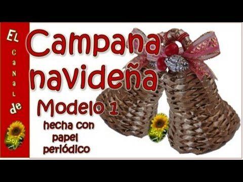 Campana navideña modelo 1 hecha con papel periódico - Christmas bell mod...