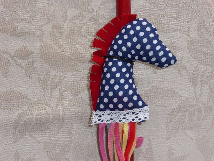 Handmade Easter Candles for Girls and Boys. Mobile Horse made by cloth. Cost 12€/piece.