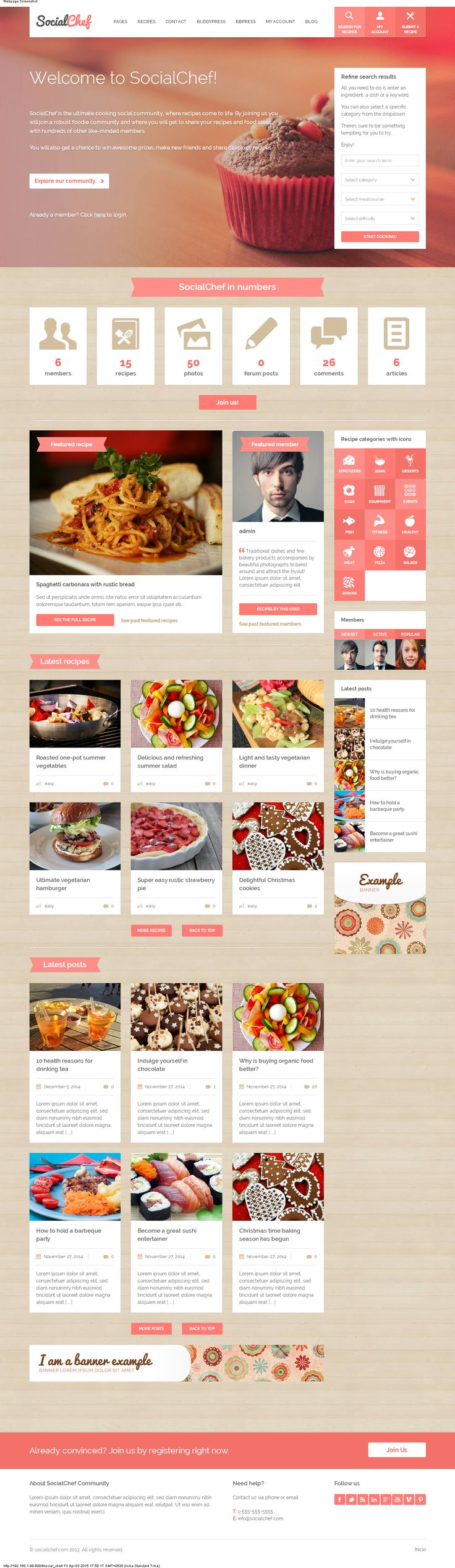 Developed in wordpress, useful for the cooking lovers. The users can submit their recipe and show their talent. Other users can comment share the recipe.