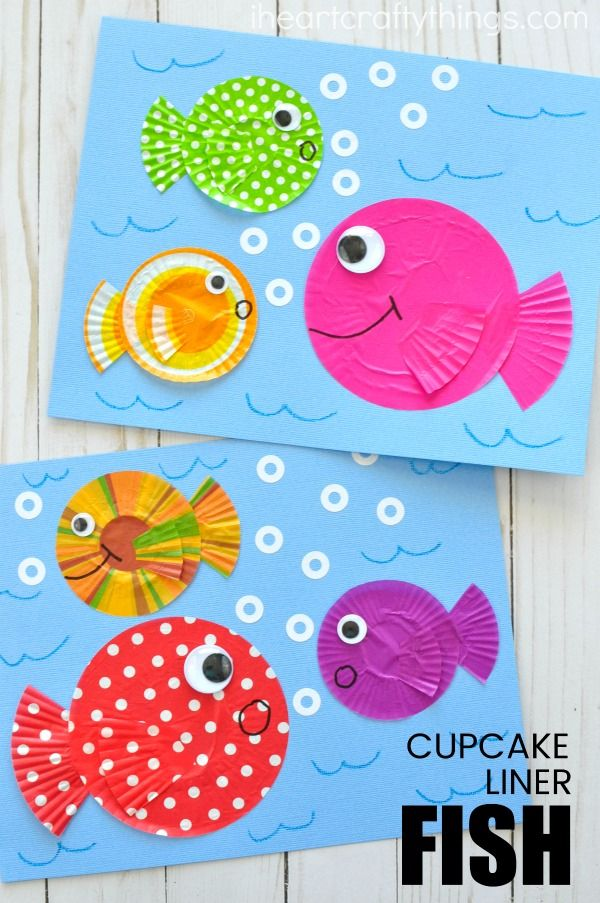 DIY Craft: Use left over cupcake liners to make this fun fish kids craft. Great summer kids craft, cupcake liner crafts, fish craft for kids and ocean crafts for kids.