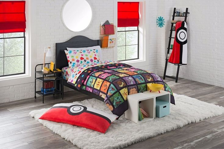 This Kids Twin Bed in a Bag Bedding Set Pokemon Kanto Favorites 4 pc Comforter Sheet is the perfect way to show off your true fan style when you're drifting off in bed! This super cozy comforter is designed around your favorite original Pokemon characters, Pikachu, Charmander, Squirtle, and many more in a grid pattern! #pokemon #kidsbedding #comforter #beddingset #kidsbedroom #bedroom