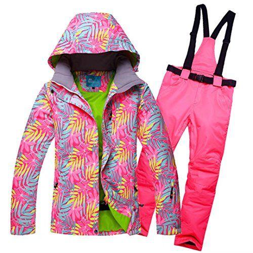OLEK Women's colorful Waterproof Windproof Pattern Snow Coats Snowboard Ski Jacket Pants