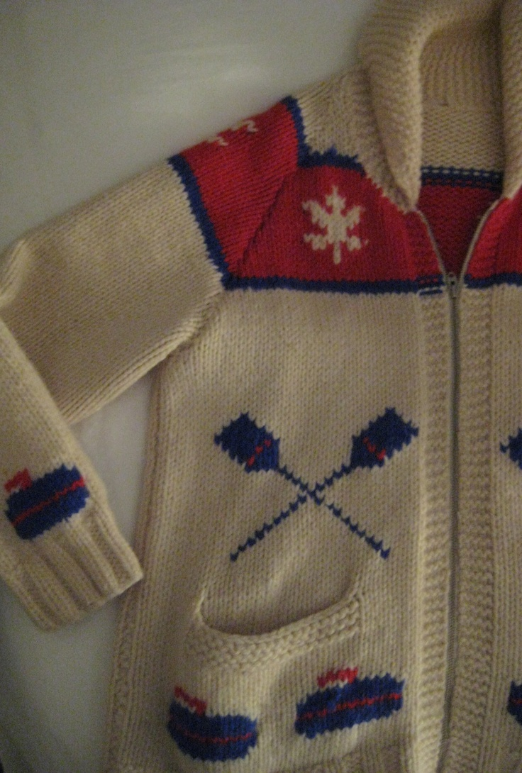 a traditional cowichan curling sweater, very popular in Canada... you can find Mary Maxim patterns to knit your own on ebay