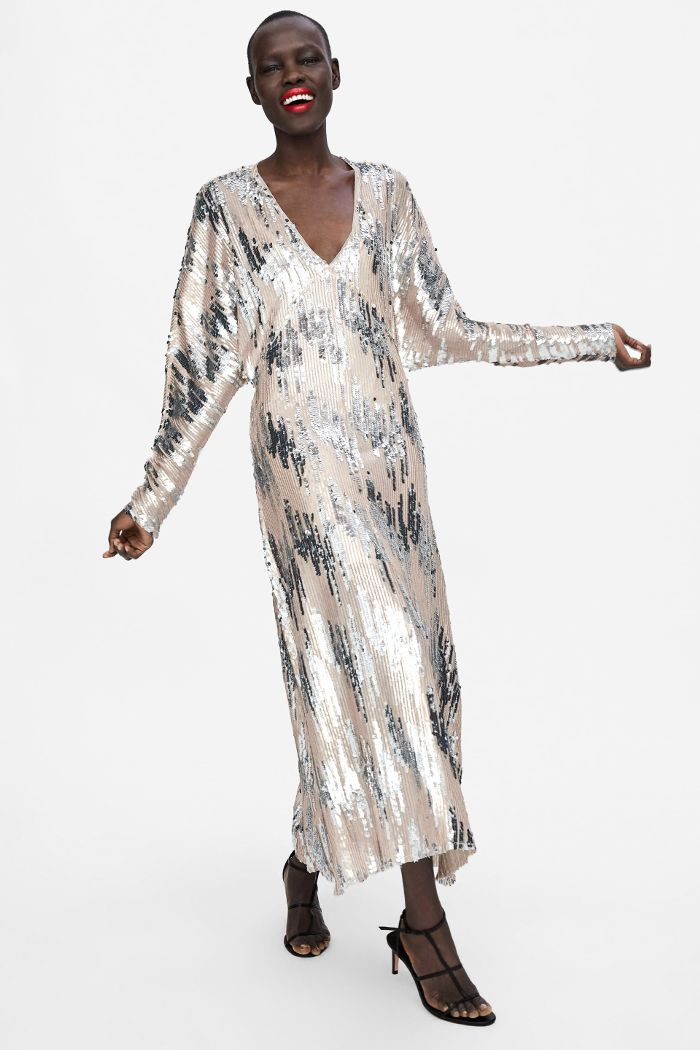 Zara Sequin Dress Zara Woman Dress High Fashion Street Style Prom Dresses Vintage