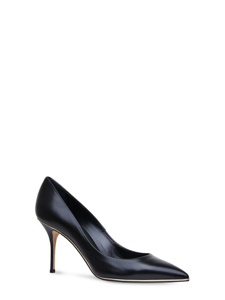 Casadei - 365 - 5502N863.EK7T292M45 - Classic pointed toe pump in black supple nappa with gold trim. Leather covered stiletto heel. 3.1 inches. Nappa Made in Italy