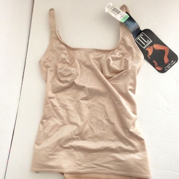 TC shape wear beige Cami top shaper-NWT! TC shape wear beige Cami top shaper-NWT! Complete with ribbing on the bottom as shown in last photo and a shelf bra as shown in 3rd photo! TC Shapewear Tops Camisoles