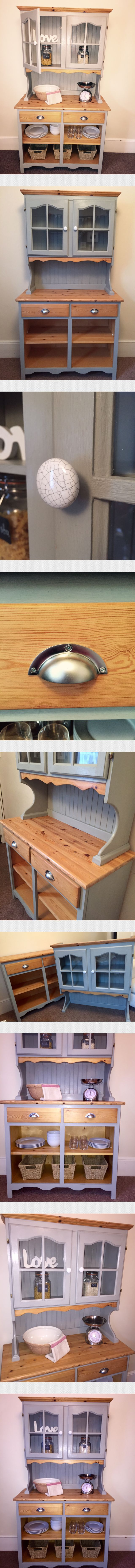 Cute country style pine Welsh dresser. lovingly upcycled using a beautiful grey (shutter) chalk paint, sanded then waxed twice to give a durable finish. I've added new stainless steel cup handles to the draws and ceramic crackle glaze knobs to the doors. In addition to this I've removed the old doors to give a more up-to-date look. Adding baskets to the open cabinet to keep items neat would also create a shabby chic feel if desired. My upcycled items are not new factory pieces and often have…
