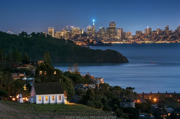 A church with a view!  St. Hilary Catholic Church & School in Tiburon, California, with Angel Island State Park, Alcatraz Island, and the beautiful San Francisco skyline!  Photo source - Jay Huang  //  https://flic.kr/p/CfN61P  San Francisco, California, Alcatraz Cruises, Alcatraz Federal Penitentiary