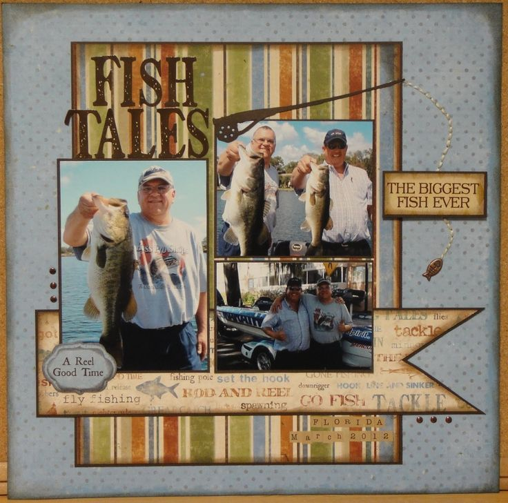 Fish tales LO.  scrapbook layouts fishing | Fish-themed scrapbook page Courtesy of http://twoscrapbookfriends ...