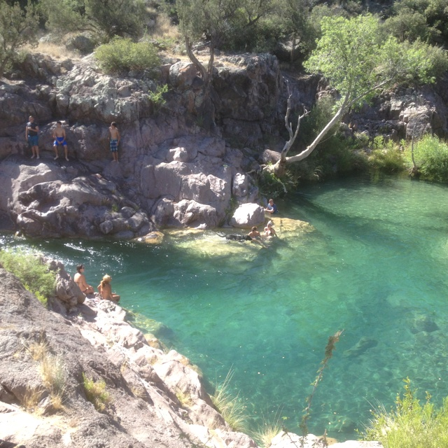Fossil Creek, Arizona has deep.. Super clear..perfect temp. water!!!!  u can even camp here.(i went a few weeks ago).  not a lot of people know about it ... :):)