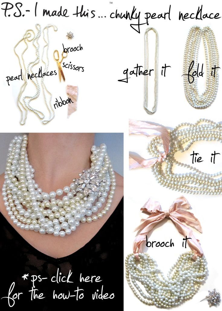 create a stand out, chunky, pearl statement necklace just reach for 3 strands of long pearl or beaded necklaces (experiment with different colored options), wide ribbon, and a decorative brooch.