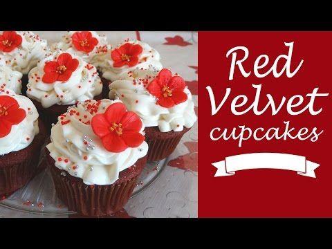 Cupcakes de red velvet con frosting de queso crema y vainilla - YouTube