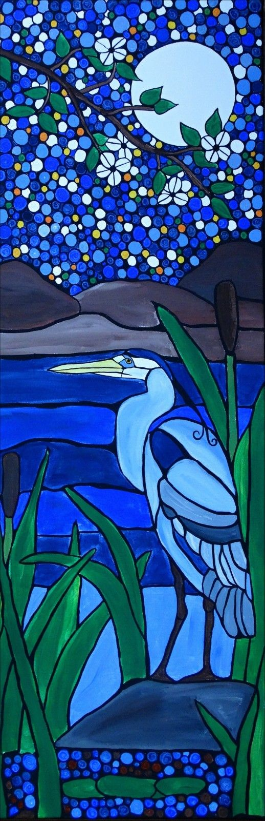 Colorful landscape with a blue heron on this delightful artwork with a mosaic appeal.