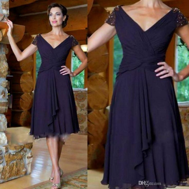 Summer 2015 Chiffon Short Mother Of Bride Dresses V Neck Short Sleeve Beaded Pleat Knee Length A Line Fashion Mother Evening Dresses Mother Of Groom Outfits Mother Of The Bride Dresses Australia From Aijiayi, $82.43| Dhgate.Com