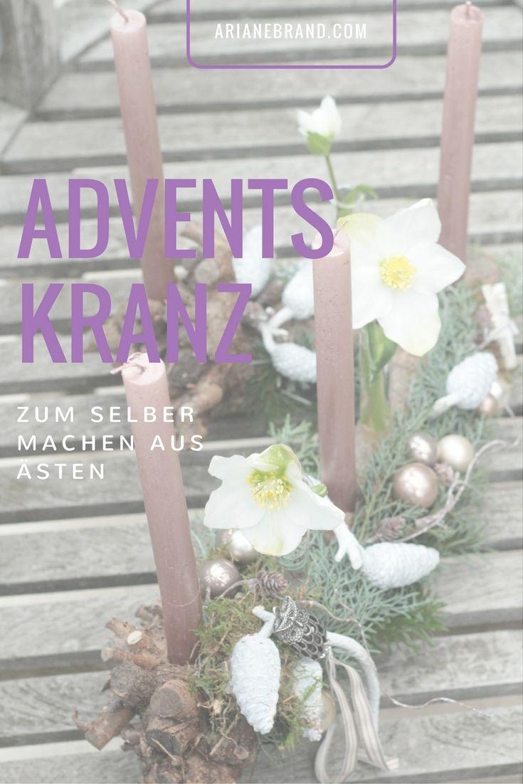 DIY: Adventskranz selber machen - Last Minute Idee / Ganz einfach aus Ästen und Deko aus dem Garten selbst gemacht. #adventskranz #advent #astdeko #weihnachten #diy #selbermachen