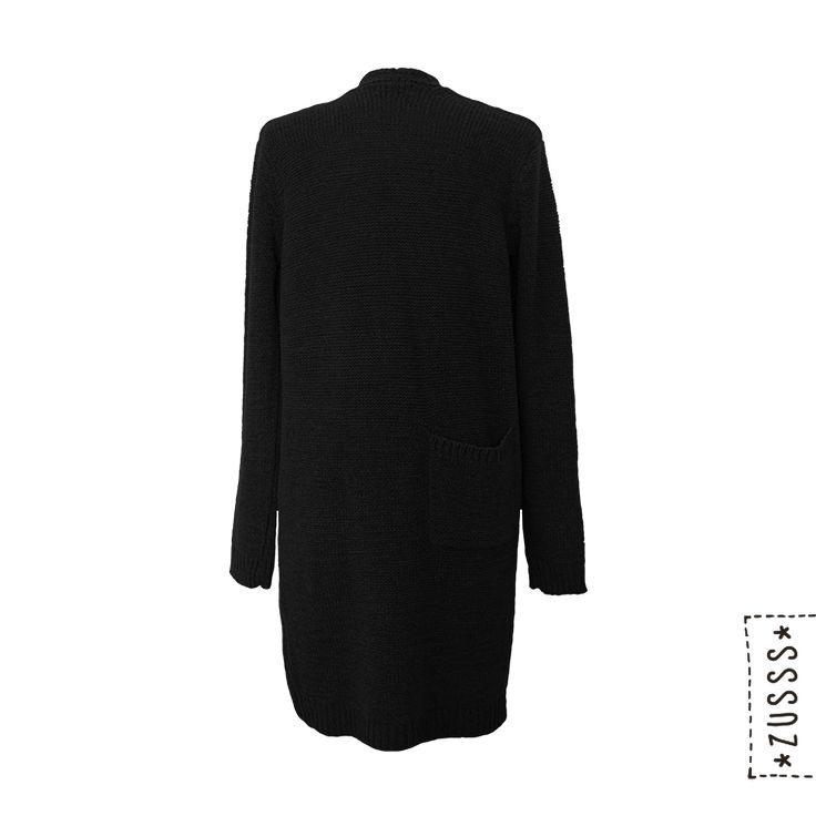 Zusss   Grof gebreid vest zwart   http://www.zusss.nl/product/grof-gebreid-vest-zwart/
