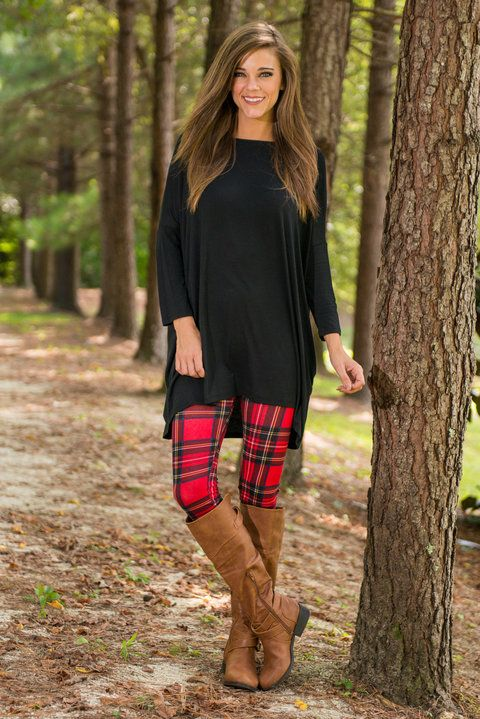 Perfectly Plaid Leggings, Red