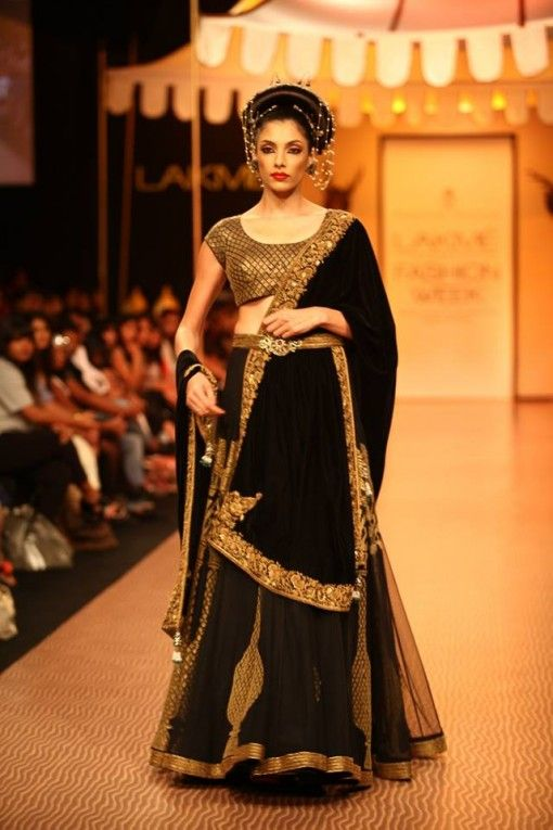 Nikhil Thampi black and gold bridal lehenga