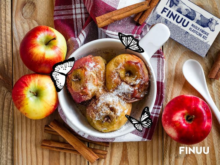 Pieczone jabłka, które są jednym z tradycyjnych przysmaków fińskich, nabiorą wyrazistego smaku jeśli dodasz do nich 2 łyżki stołowe klasycznego masła FINUU. Na koniec posyp cynamonowym cukrem!   #finuu #jablka #pieczone #deser #finnishfood