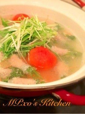 激うま☆塩麹で、水菜豚肉巻き鍋