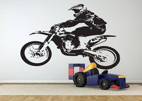 dirt bike wall decal motocross wall sticker motorsport #motorc