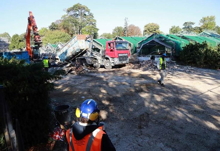 Le 5 octobre 2016, à Paris, début des démolitions et d'abattage d'arbres au coeur du Jardin des Serres d'Auteuil, un site classé, après le feu vert du Conseil d'Etat à la construction d'un stade de tennis pour Roland-Garros.
