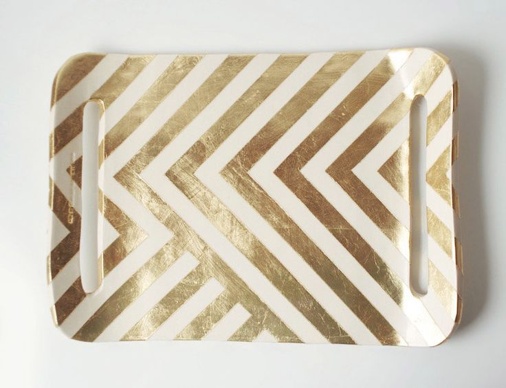 Gold Zag Tray from #Etsy: Zig Zag, Bathroom Design, Trays, Gold Leaf, Gold Zag, Diy, Zag Tray, Gold Chevron