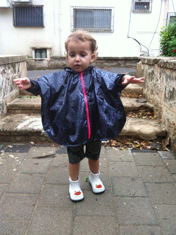 Kids Hooded Raincoat Kids Poncho Rain Jacket by Welovefuss on Etsy