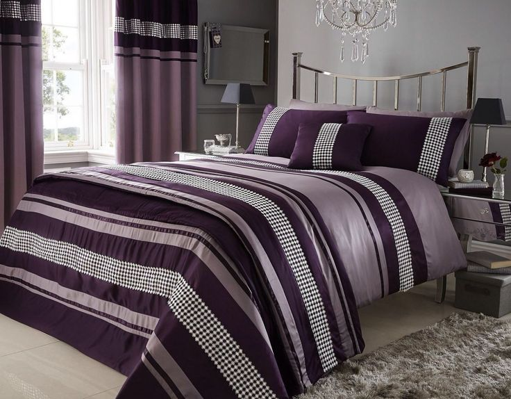 Cozy Purple Duvet Cover For Modern Bedroom Design Ideas: Purple Duvet Cover With White Ceramic Floor And Grey Rug Design Also Grey Curtain For Bedroom Ideas
