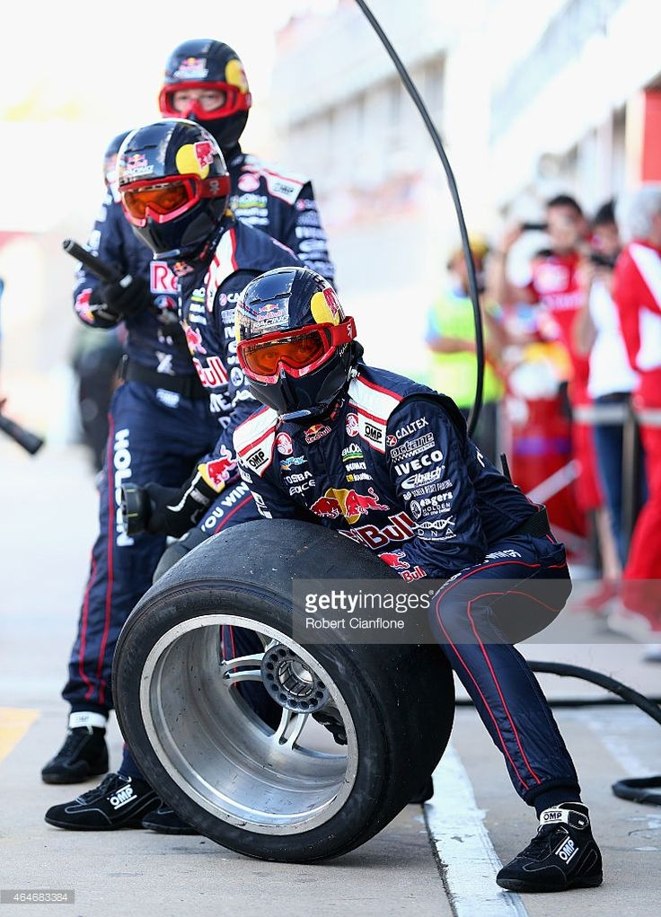 The Red Bull Racing Australia pit crew prepare for a pit stop, during the practice session prior to race one for the V8 Supercars Clipsal 500 at the Adelaide Street Circuit on February 28, 2015 in Adelaide, Australia.