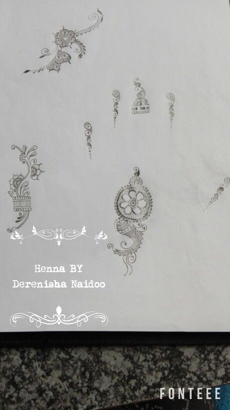 Henna Floral Drawings for hands and fingers