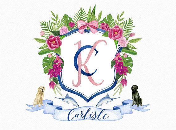 Personalizada boda acuarela cresta pintadas, cresta de la boda, monograma, escudo de la familia, digital