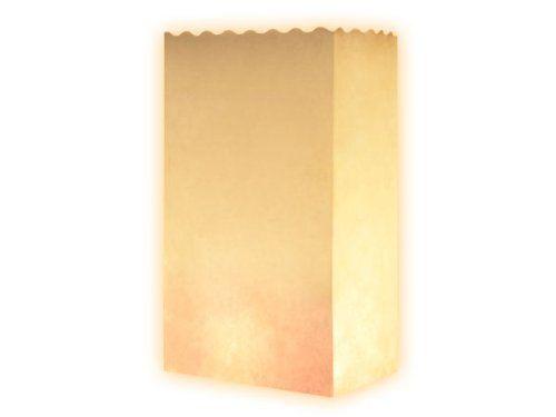 Lot de 10 sac à bougie Blanc (Basic) lueur de sol blanc fête sachet pour bougies effet luminaire décoration illuminer terrasse soirée en plein air mariage de rêve romantique photophore en papier non inflammable farilitos luminarias lanterne
