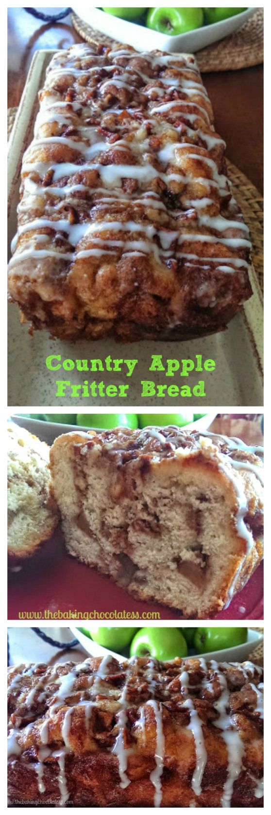 Apple Fritter Bread... not bread at all, but a very sweet cake. Tasty and moist, but very crumbly. Mine looked nothing like the picture and I made it exactly as the recipe directed. The pieces I cut just fell apart, but everyone complimented the taste. Too sweet for me, definitely would leave out the glaze.