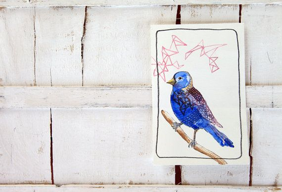 bird original watercolor illustration blue by ariannapiazzafineart, $39.00