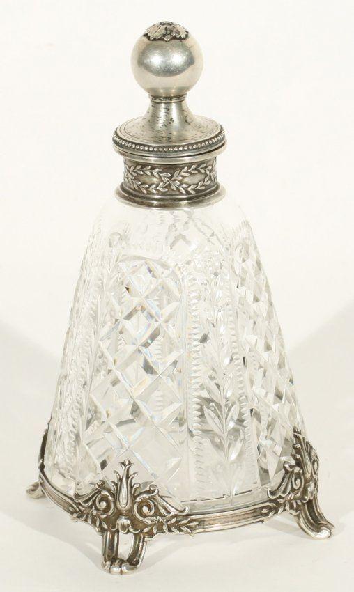 Vidro de perfume de cristal com prata - Rússia - Século XIX.