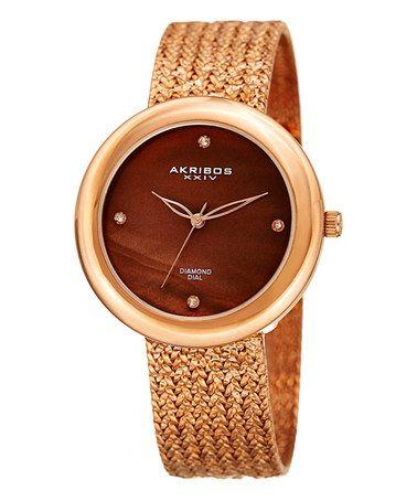 Another great find on #zulily! Brown & Goldtone Diamond-Accent Mesh Bracelet Watch #zulilyfinds