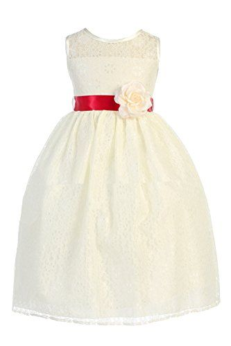JM DREAMLINE Floral Lace Classic Flower Girl Dress with Colorful Sash (Ivory Red ac3ca5fc2e